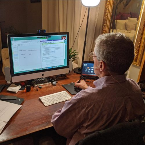 Dale Reed, Clinical Professor of Computer Science, teaching at home.